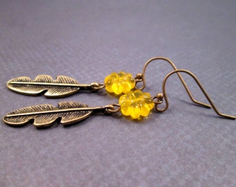 Brass Feather Earrings, Yellow Glass Flowers and Brass Feather Charms, Dangle Earrings, FREE Shipping U.S.