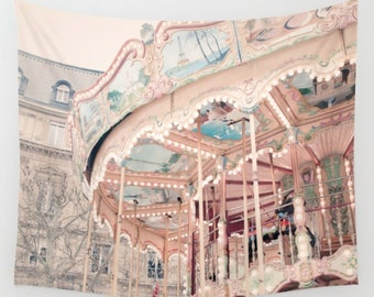 Paris Carousel Wall Tapestry, Paris nursery decor, France wall tapestry, merry go round decor, Paris wall decor, Large wall art, Gift