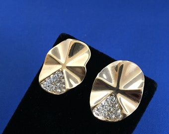 """Vintage Clip On- Screw Back - Gold Tone Earrings - Clear Rhinestone Accents 7/8"""" High  FREE SHIPPING"""