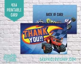 Digital 4x6 Blaze and the Monster Machines Thank You Card, Folded & Postcard | High Resolution JPG File, Instant Download, Ready to Print