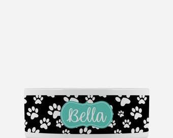 Personalized Pet Bowl - Black & White Paw Prints - Turquoise Name Label - Girl or Boy