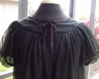 Vintage Black Sheer Robe...SALE FREE SHIPPING