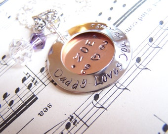 Daughter Gift Mixed Metal Locket, Daddy's Little Girl, Hand Stamped open Locket style necklace, From daddy with love