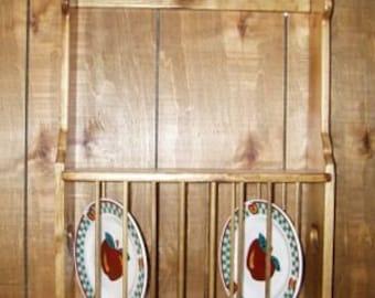 Pine Plate Rack Wall Shelf