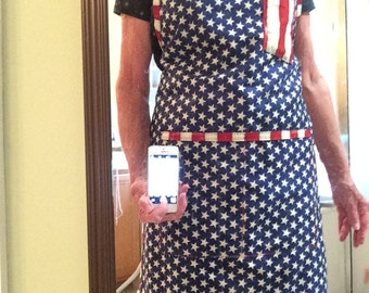 Patriotic Chef Apron, Fourth of July Apron, Red White Blue Apron, Cell Phone Pocket Front Right
