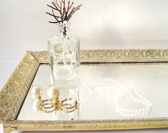 VINTAGE Filigree Tray Home Decor metal golden gold long rectangular vanity mirror tray or mirror by Eco Cottage