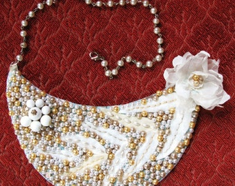 Champagne Wonder beaded pearl bib necklace