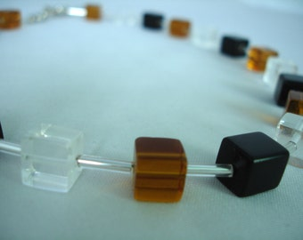 Topas-Black- Clear Cubes Necklace - Glass Beads - Opal cube beads - Summer Necklace