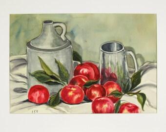 ORIGINAL painting, watercolor, still life, apples, jugs, gift art, 18x24/mounted 22x28