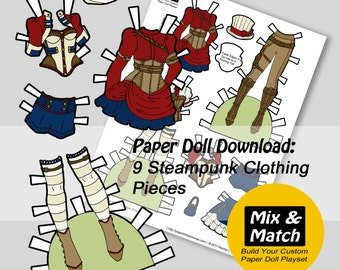 Steampunk Paper Doll Clothing- Digital Paper Doll Download- Printable Paper Doll Clothing Set-Paper Doll Dress Up- Steampunk Costume