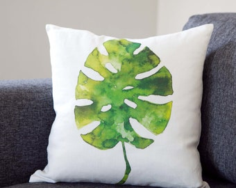 Palm leaf pillow, throw pillow with printed green tropical palm leaf, monstera palm leaf