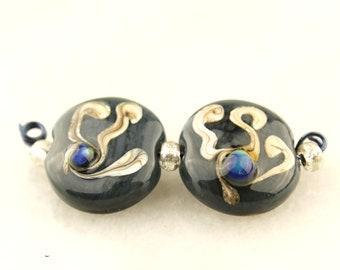 Lampwork Bead Pair, Blue, Green, Ivory Glass, Lentil Earring Beads