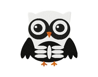 INSTANT DOWNLOAD Owl Skeleton Halloween Holiday Machine Embroidery Design