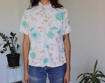 Vintage Linen Floral Blouse Small
