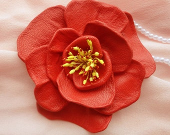 Leather flower.Red Poppy Flower.Leather brooch