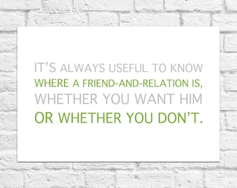 Always Useful To Know Where A Friend... - Winnie The Pooh Quote - Poster/Art Print A4 Size
