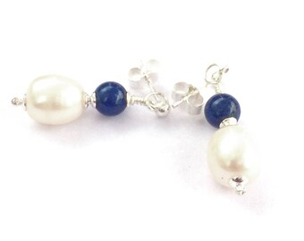 Lapis Lazuli Freshwater Pearl Drop Earrings