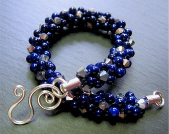 Navy Blue and Silver beaded Kumihimo Bracelet with Handmade Sterling Silver Clasp - B81