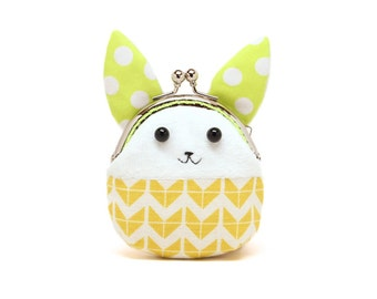Little yellow chevron rabbit mini coin purse