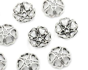 set 10 bead caps 10 mm antique silver heart