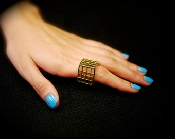 Brass Gold Rubix Cube Ring