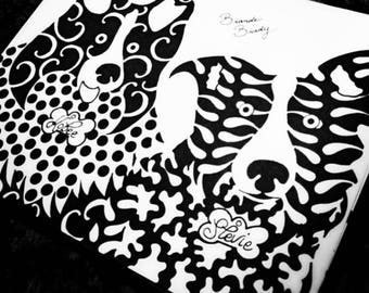 White & Black Abstract Sharpie Drawing