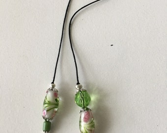 String Bookmark with flower beads of pink and green.  Handmade to last for a long time