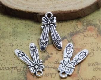 25pcs Ballet Slipper Charms silver tone Ballet Slipper Charm pendants 21x13mm ASD0553