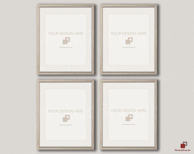 Wood MOCKUP FRAME 16x20 / vertical Frame / Set of 4 Frames  / beige wall / Old Vintage Frame Mockup / Empty Mockup - 40% Discount in April
