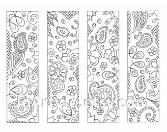 Downloadable Bookmarks to Color, Paisley Printable Coloring, Zentangle Inspired Sheet 16