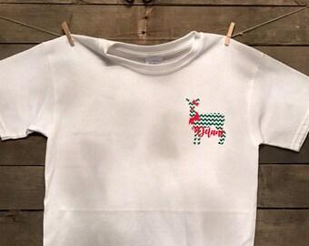 Personalized chevron deer christmas tee