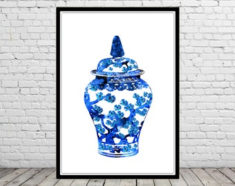Ginger jar, ginger jar print, watercolor ginger jar, ginger jar art, ginger jar art print, watercolor print, watercolor art (3140b)