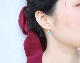 Sterling Silver Diamond Earrings Water drop Earrings Blue Diamond Earrings Silver Dangle Earrings