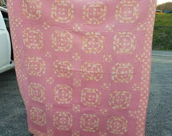 Beautiful Heavy Vintage Pink and Yellow Feedsack Quilt