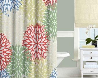 Floral Shower Curtain, Chrysanthemum Shower Curtain, Bathroom Decor, Bath Curtains, Blue Red Green Yellow Beige, Modern Bathroom Curtain