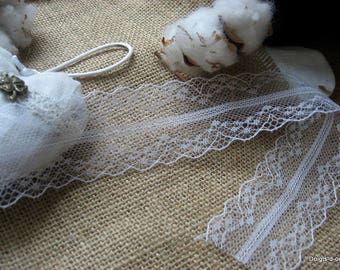 Thin white lace scalloped 40 mm