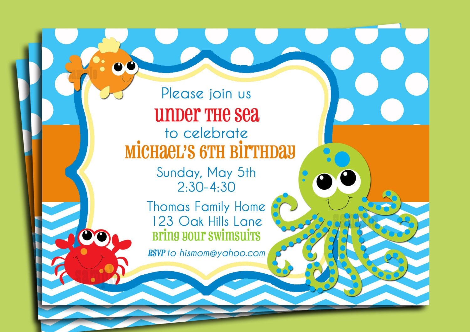 Under the Sea Invitation Printable or Printed with FREE