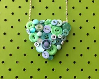 Mint Green Button Necklace, Retro, Vintage Button Necklace, Blue, Mint, Turquoise, Colourful Statement Necklace