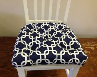 Tufted chair pad seat cushion, gotcha chain link navy blue and white cotton