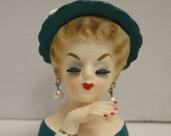 Vintage Lady Head Vase Planter Mini Miniature E-774 Green Pearl Earrings Inarco Japan 1961 Mid Century Home Decor Collectible Figurine