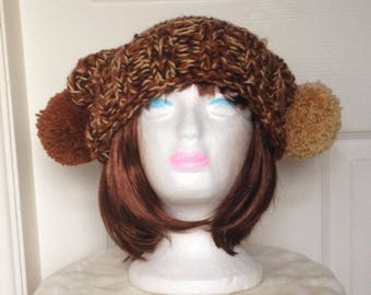 Slouchy Hat, Hand Knitted Hat, Beanie Hat, Pom Pom Hat, Brown Beanie Hat, Knitted Slouchy Hat, Slouch Hat, Chunky Knitted Hat