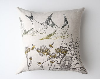 Birds & Bees Linen Pillow Cover. Cushion Cover. Pillow Case. Throw Pillow. Throw Cushion. Linen Cushion. Lumbar cushion. Accent Pillow.