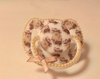 Coffee and cream roses magnetic reborn doll dummy pacifier