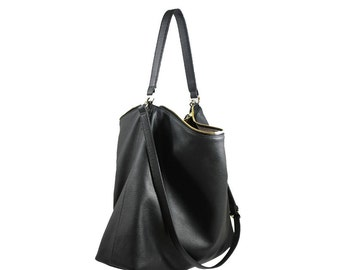 NELA - Leather Hobo Bag (LARGE) - Black