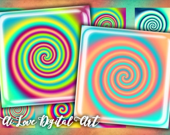 Instant download digital collage sheet 1 inch square, 1.5 inch, 20mm, Spiral