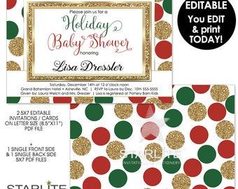 Holiday Baby Shower Invitation, EDITABLE Holiday Baby Shower Invitation, INSTANT DOWNLOAD, Baby Shower Invite Pdf DiY Printable