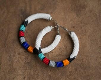 White African Earrings, White Zulu Style Earrings, Colorful Hoop Earrings, Hoop Beaded Earrings, Ethnic Earrings, Ethnic Hoops MADE TO ORDER
