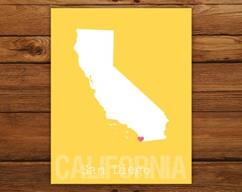 Custom California, Personalized State Print, State Love, State Map, Country, Heart, Silhouette, 8 x 10 Wall Art Print