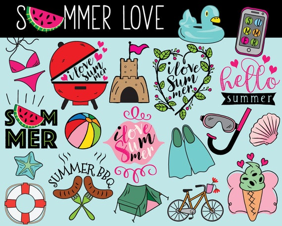 hello summer clipart vector summer clip art summer doodle rh etsy com summer clip art free images summer clip art border