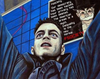 Mr. Robot Rami Malek as Elliot Acrylic Painting Art Print 11.7 x 16.5 inches Fsociety Fanart Fan Art